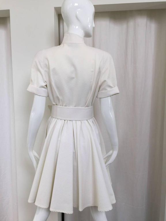 1990s Thierry Mugler white cotton wrap dress 4