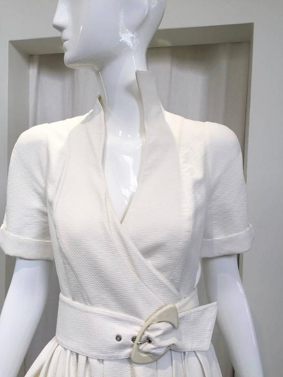 1990s Thierry Mugler white cotton wrap dress 2