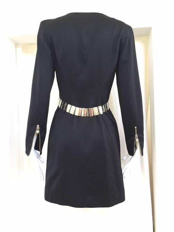 Vintage 1990s Claude Montana Black Zipper Dress In Excellent Condition For Sale In Beverly Hills, CA