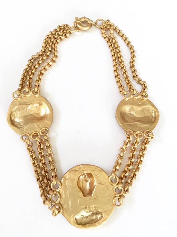"1980s Gianni Versace triple romanesque medallion gilded metal necklace by Ugo Correani. Measurement: chain: 17"" diameter large medallion: 1 7/8"" small medallion: 1 5/8"