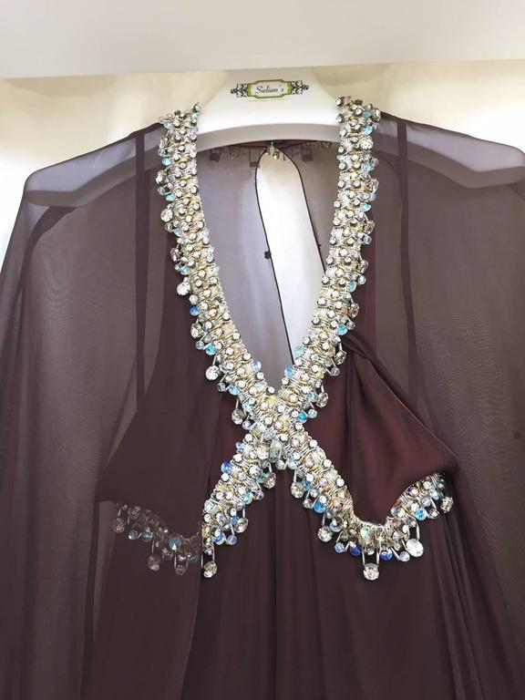 Vintage 1970s brown silk chiffon sheer cape gown with jeweled neckline 3