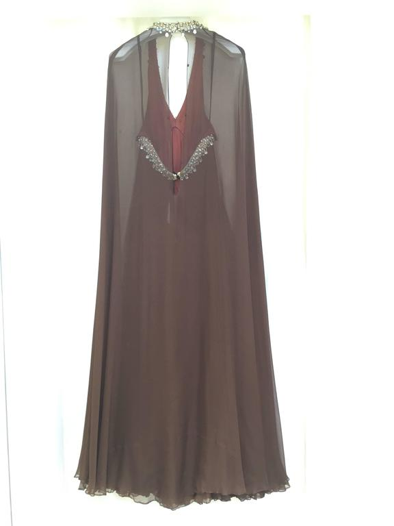 Vintage 1970s brown silk chiffon sheer cape gown with jeweled neckline 5