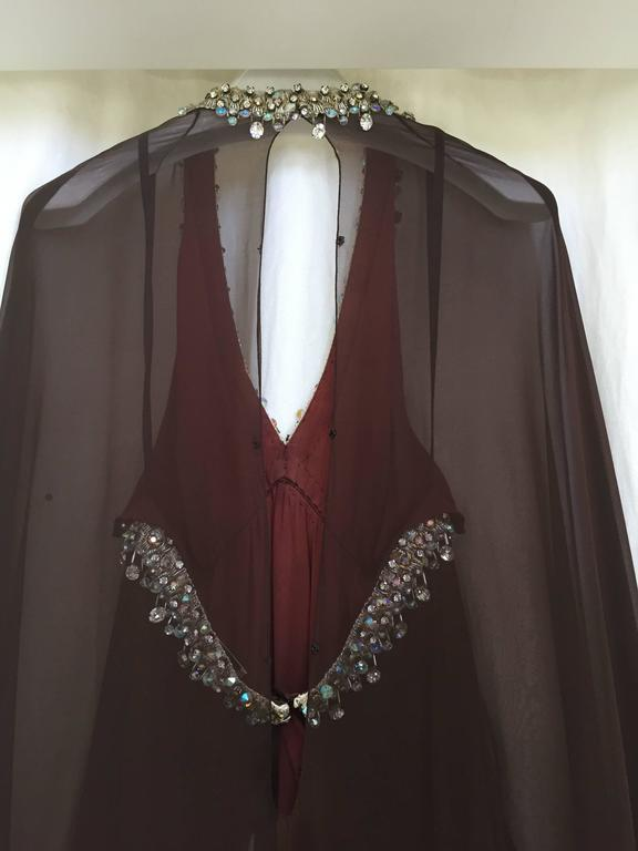 Vintage 1970s brown silk chiffon sheer cape gown with jeweled neckline 6