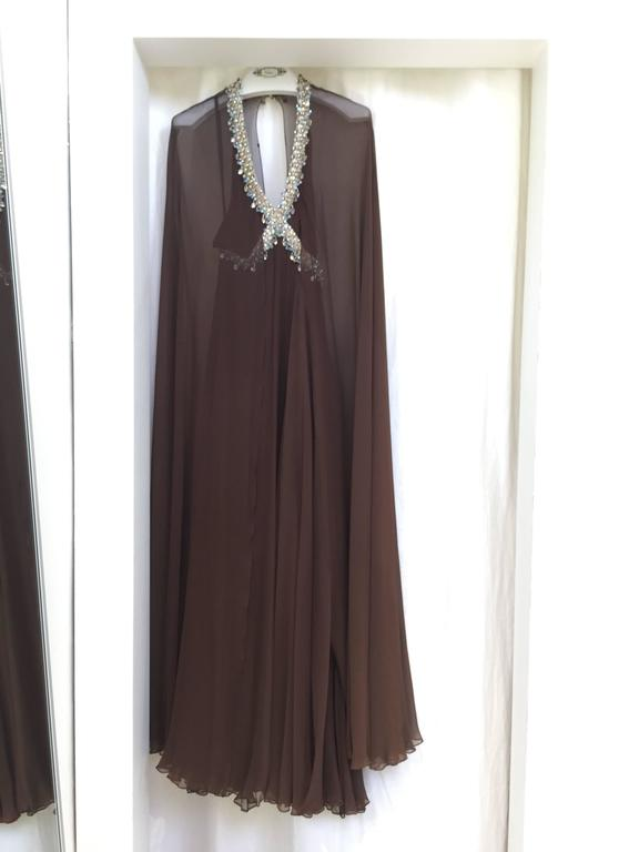 Vintage 1970s brown silk chiffon sheer cape gown with jeweled neckline 7