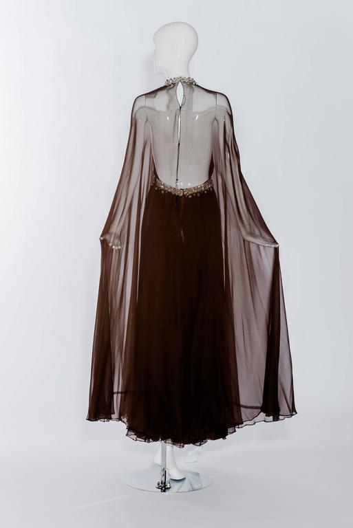Vintage 1970s brown silk chiffon sheer cape gown with jeweled neckline 2