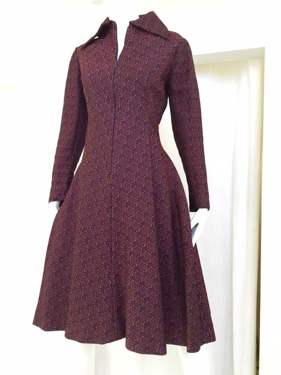 A classic 1960s GEOFFREY BEENE Purple and Blue Silk Woven Dress . Zip in the front. A line shape with 2 hidden pockets. These Beene day dresses have a lot going for them: great fit, cute length, and excellent silk woven fabric.  Fit Size Medium 6 -