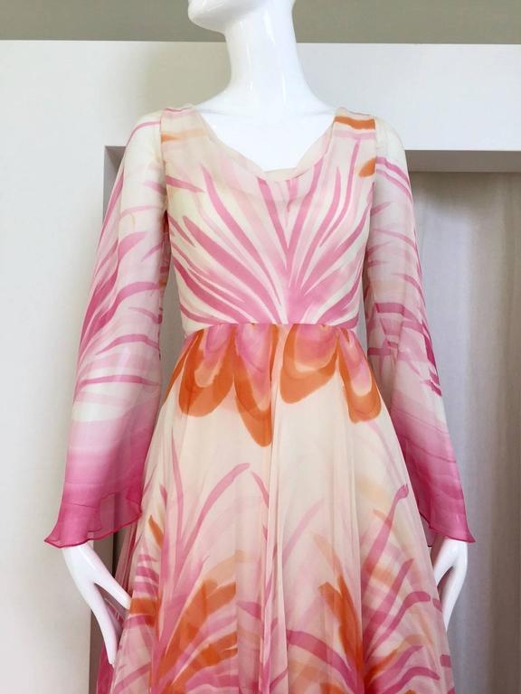 Vintage Michael Novarese pink sik chiffon handkerchief hem dress 2