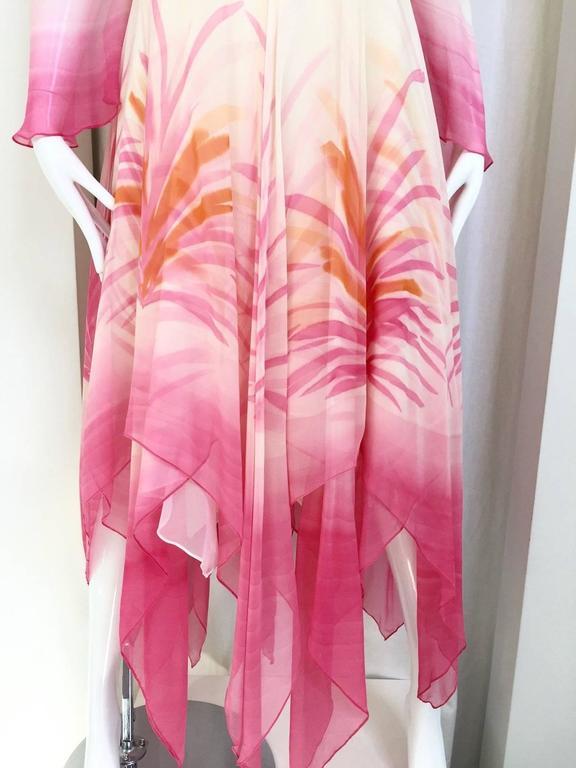 Vintage Michael Novarese pink sik chiffon handkerchief hem dress 3