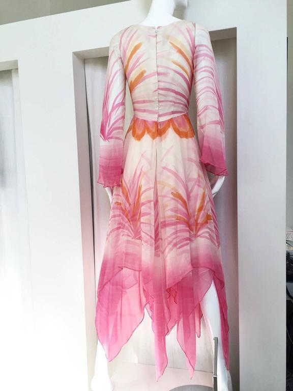 Vintage Michael Novarese pink sik chiffon handkerchief hem dress 4