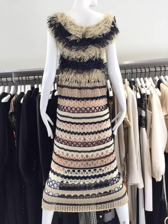 Brown Jean Paul Gaultier blue and creme raffia knit crochet dress For Sale
