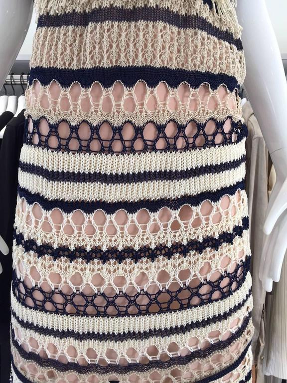 Jean Paul Gaultier blue and creme raffia knit crochet dress For Sale 1