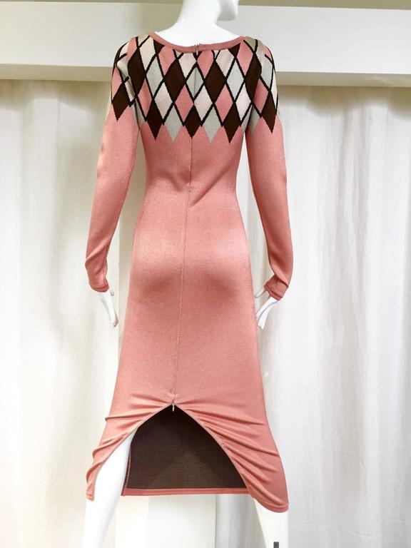 90s ALAIA pink diamond harlequin print viscose dress.  fit size 2/4 B: 30