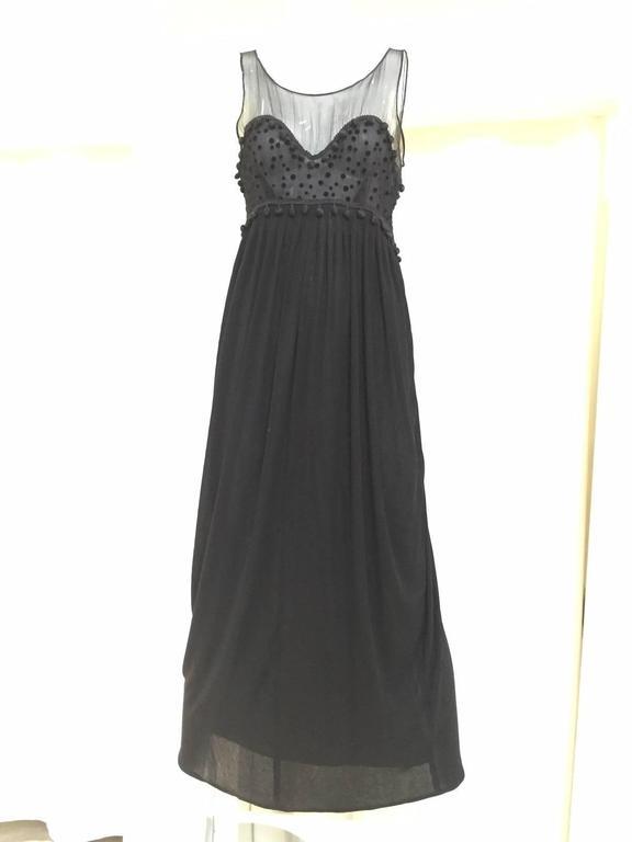 Black Vintage GEOFFREY BEENE matte jersey and silk dress with velvet dot cardigan set For Sale