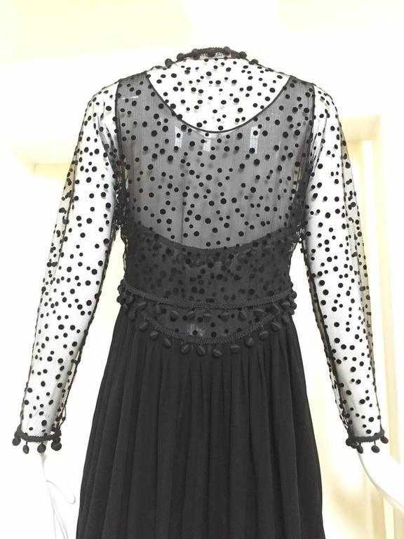 Vintage GEOFFREY BEENE matte jersey and silk dress with velvet dot cardigan set For Sale 1
