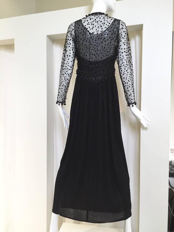 Beautiful 90s GEOFFREY BEENE matte jersey and silk dress with velvet dot cardigan set. Dress measurement; Bust: 33