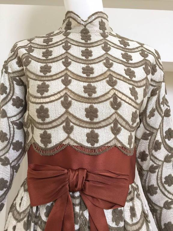 1970s brown and silver maxi lace dress  In Good Condition For Sale In Beverly Hills, CA