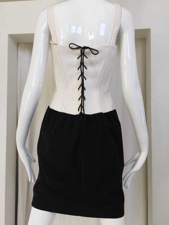 1990s Iconic THIERRY MUGLER  Black and White Corset Vintage 90s Mini Dress 2