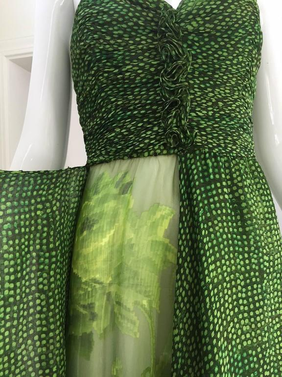 90s Oscar De La Renta green strapless silk chiffon gown with shawl 4