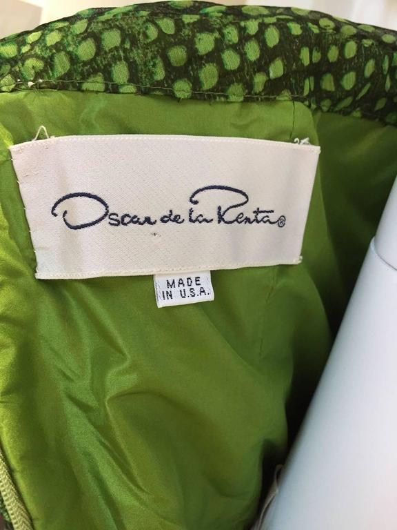 90s Oscar De La Renta green strapless silk chiffon gown with shawl 7