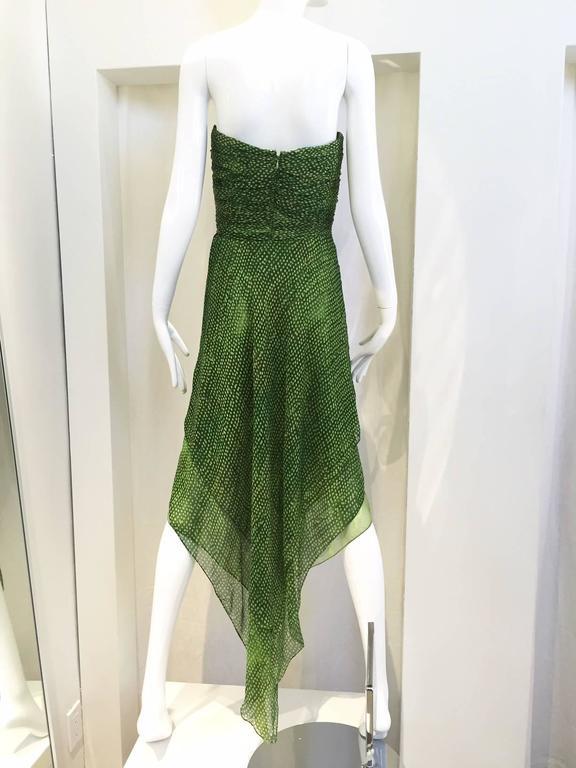 90s Oscar De La Renta green strapless silk chiffon gown with shawl 3