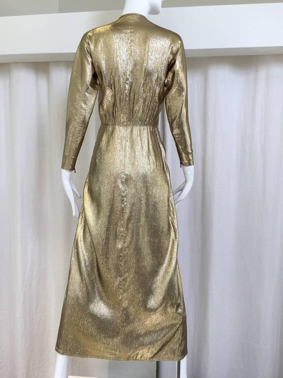 70s Geoffrey Beene silk lame gold dress with raglan sleeve. Bust: 30
