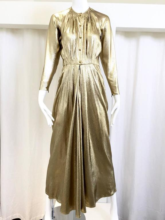 Women's 1970s Geoffrey Beene  gold lame gown For Sale