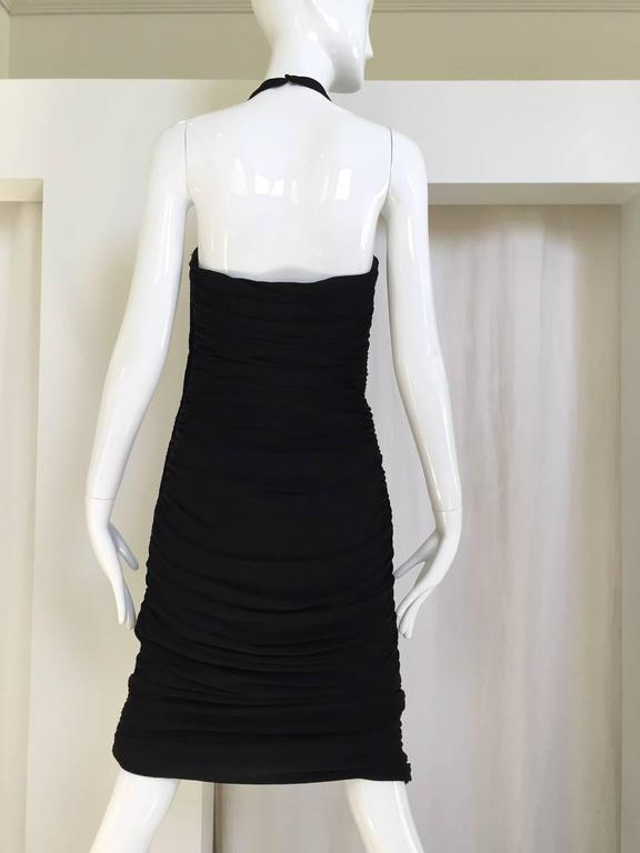 """Sexy Vicky Tiel halter cocktail dress with plunging neckline. size: 2/4 Bust: 32"""" / Waist: 26"""" / Hip: 34"""" /Length: 34"""""""