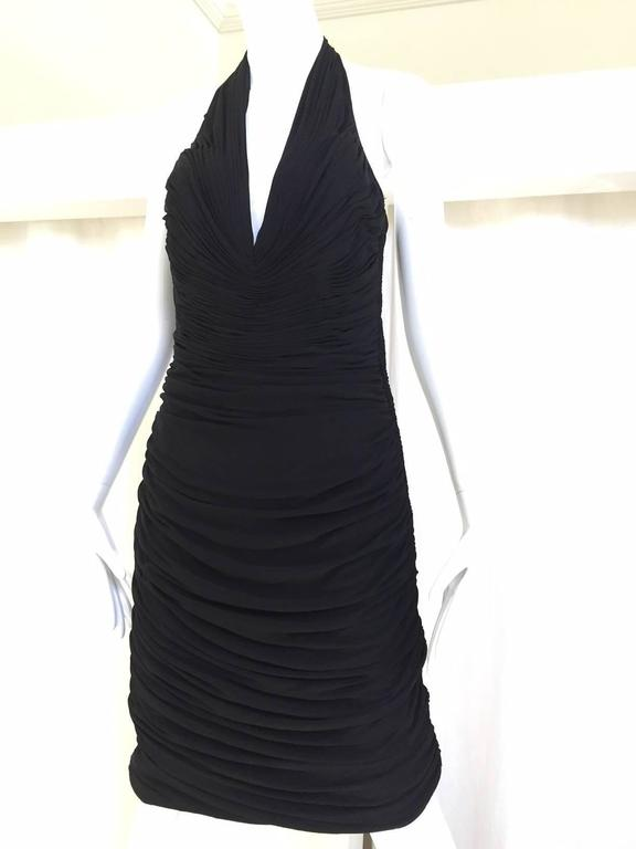 Women's VICKY TIEL Black V Neck Jersey Halter Cocktail Mini Dress 1980s For Sale