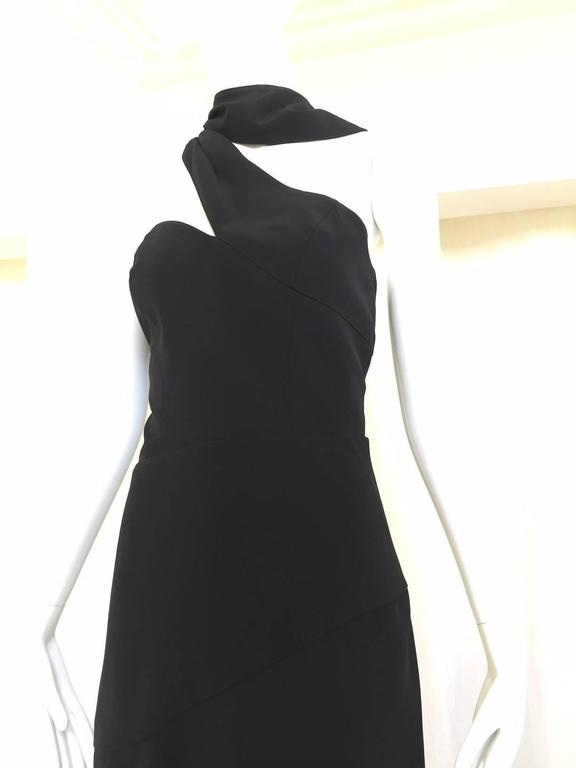 1990s THIERRY MUGLER Black Dress with Cut Out Asymetrical neckline  In Excellent Condition For Sale In Beverly Hills, CA
