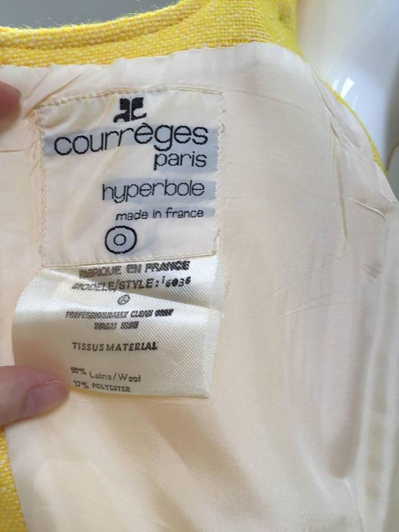 60s Courreges yellow wool dress For Sale 1