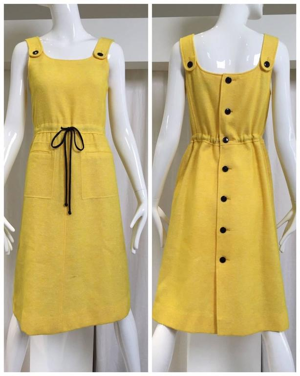 Yellow 60s Courreges yellow wool dress For Sale