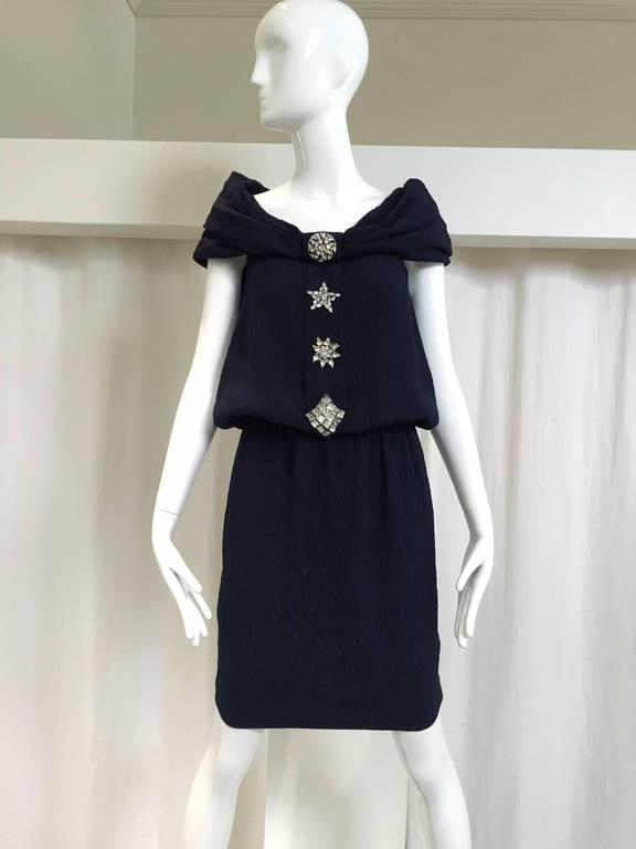 "Vintage late 90s Christian Lacroix Navy blue silk matelasse off shoulder dress with rhinestones. Perfect for summer cocktail dress.  Bust: 34""-36""/ Waist: 24"" - 28"" (stretch) Hip: 36"" / Length: 38""  Medium size"
