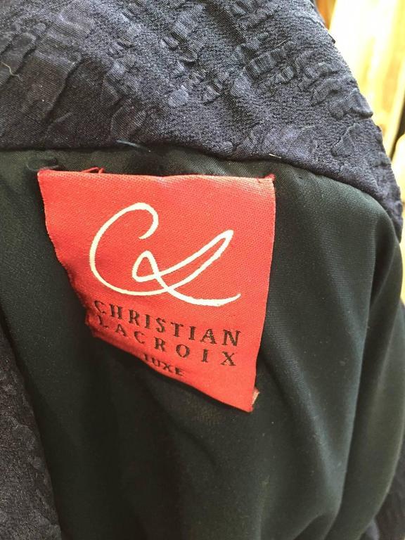 Vintage Christian Lacroix  silk matelasse off shoulder dress with rhinestones 6
