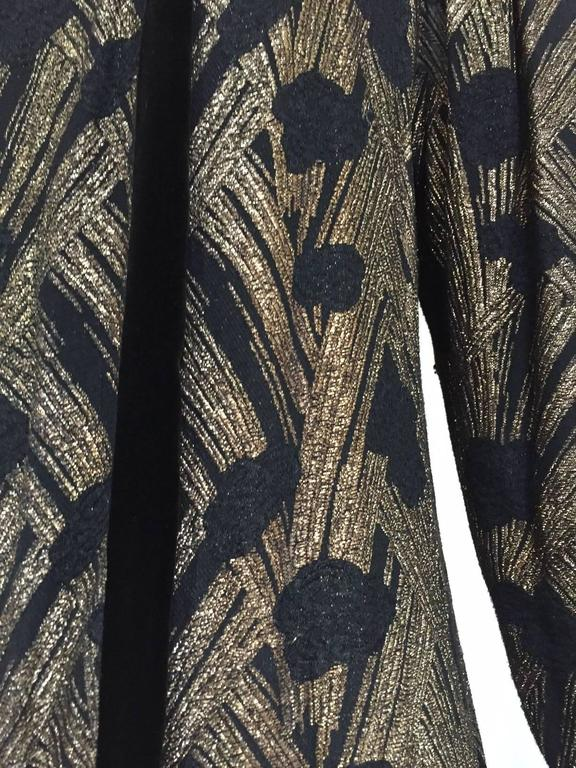 Women's 1930s  Black Brocade Gold lamè  Floral Evening Coat For Sale