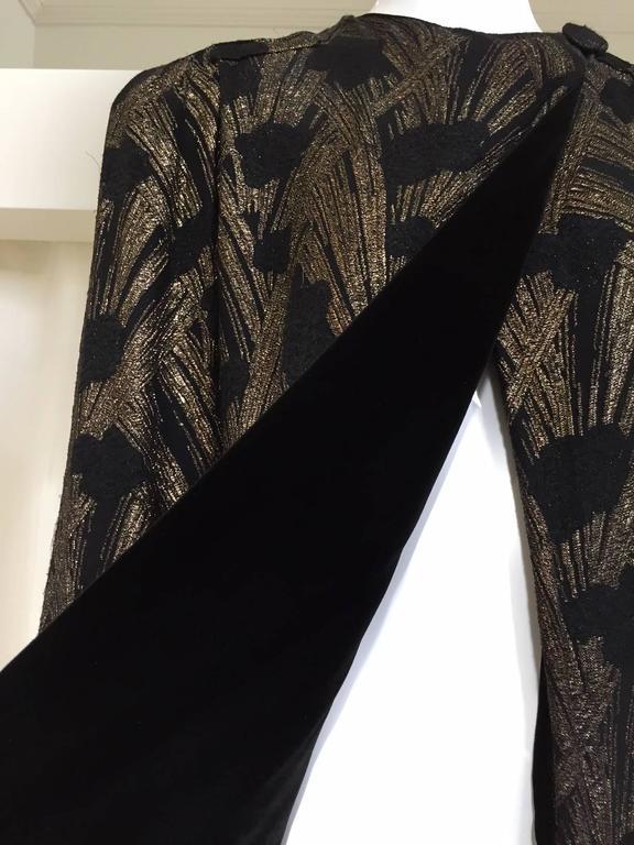 1930s  Black Brocade Gold lamè  Floral Evening Coat For Sale 1