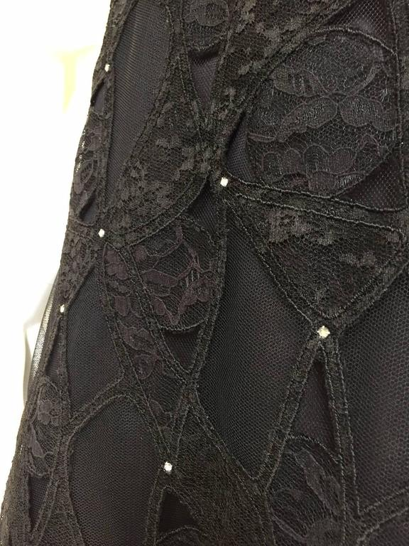 Vintage SCAASI Strapless Black Lace Gown with Rhinestones For Sale 1