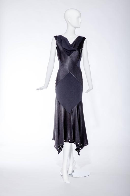 Vintage  1990s John Galliano Black Bias Cut Silk Charmeuse Gown In Excellent Condition For Sale In Beverly Hills, CA