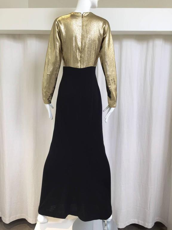 Vintage 1980s Elegant Geoffrey Beene gold lamé and wool jersey gown with long sleeve. Medium size Measurement:  Bust: 36