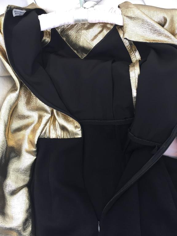 Vintage Geoffrey Beene gold lamé and black jersey wool 80s dress In Good Condition For Sale In Beverly Hills, CA