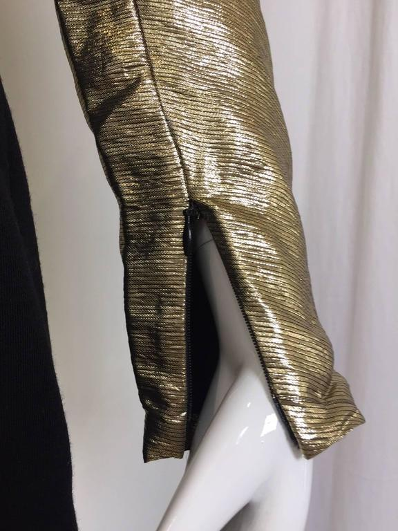 Women's Vintage Geoffrey Beene gold lamé and black jersey wool 80s dress For Sale