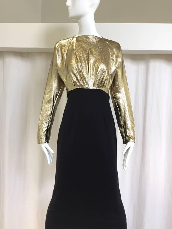 Vintage Geoffrey Beene gold lamé and black jersey wool 80s dress For Sale 2