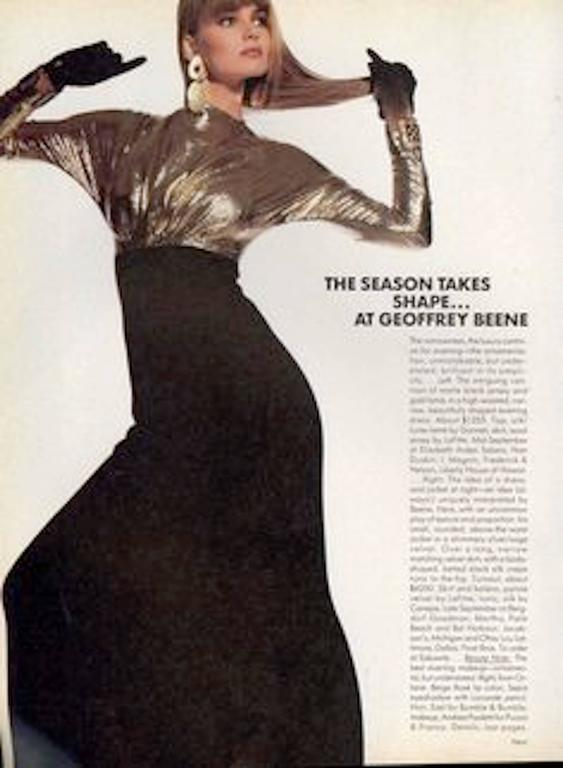 Black Vintage Geoffrey Beene gold lamé and black jersey wool 80s dress For Sale