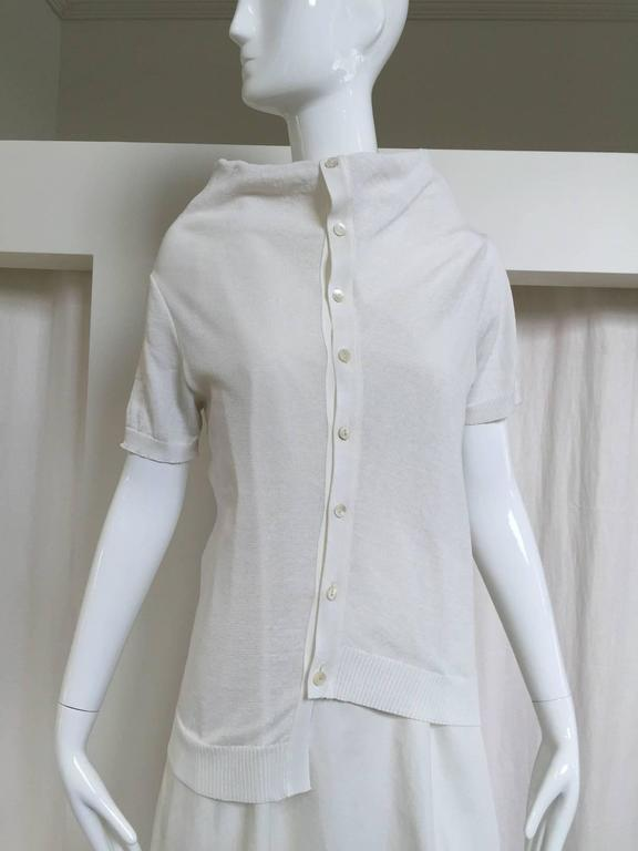 90s Comme des garcons white cotton and knit dress with standing collar. Size:6/8 Bust: 38