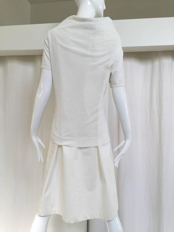 Gray 90s Comme des garcons white cotton and knit dress For Sale