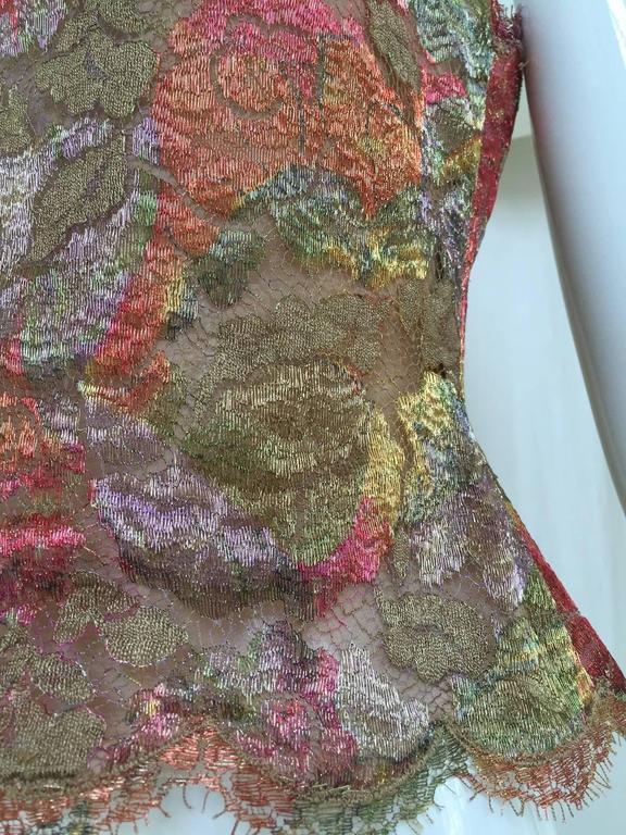 Beautiful Bill Blass silk lace metallic camisole top. Size: 2/4 Bust: 32