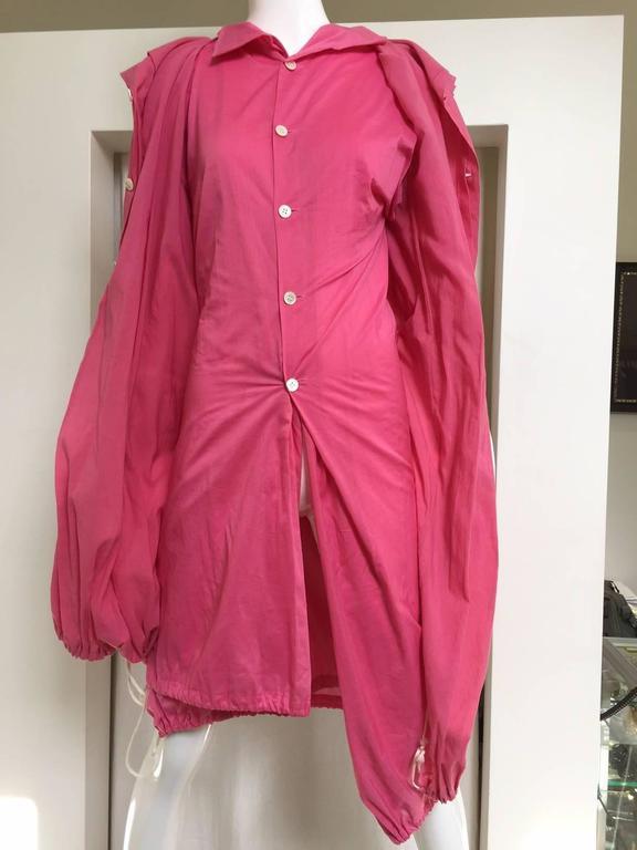 Pink 2007 Comme Des Garcons buble gum pink cotton double layer shirt dress For Sale