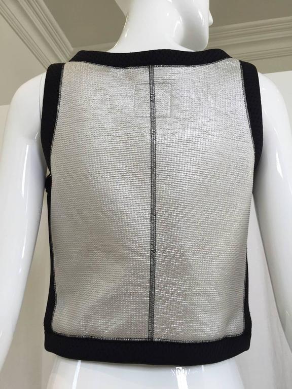 Vintage 1990s CHANEL Silver and Black Vest  2