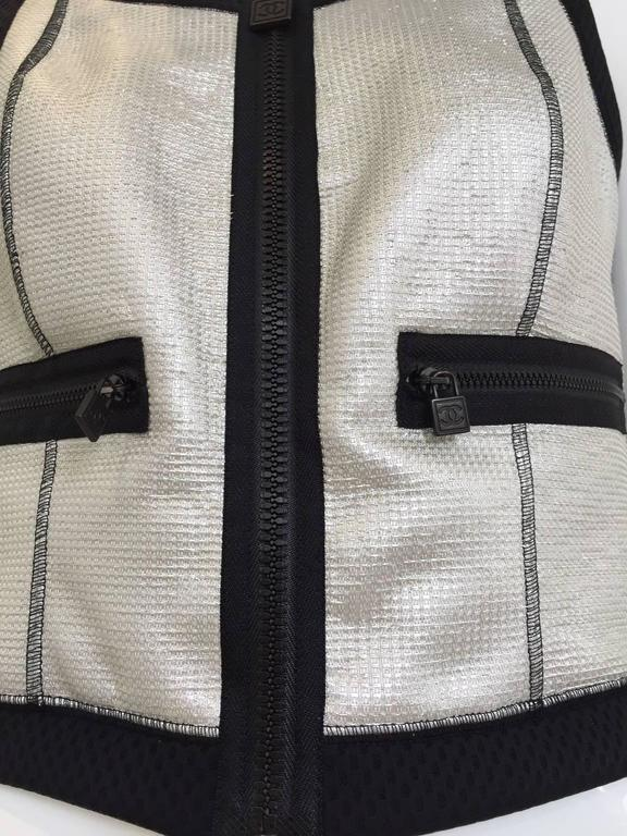 Vintage 1990s CHANEL Silver and Black Vest  3