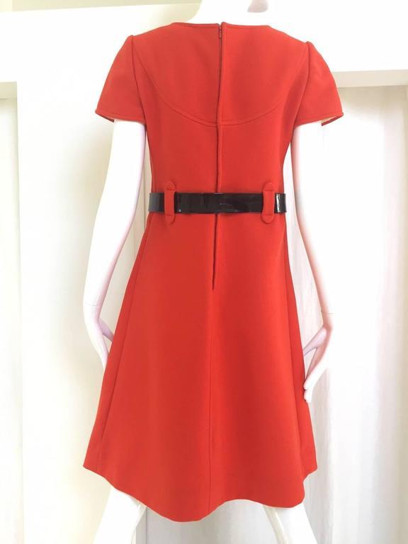 Red 1960s Courreges orange wool mod dress For Sale