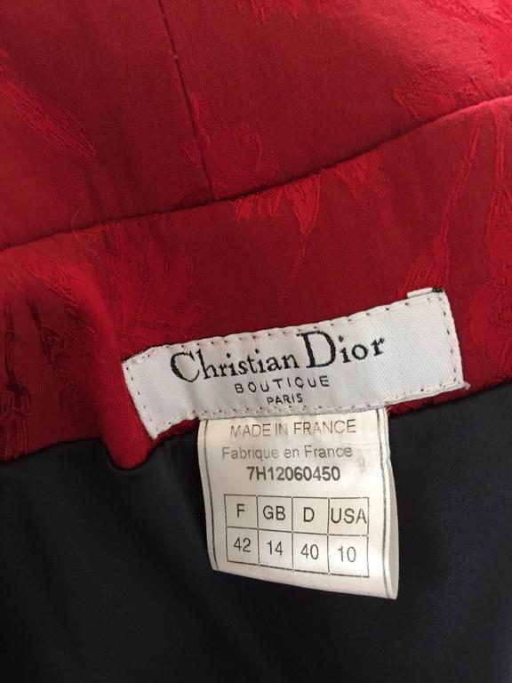 Red RARE Fall 1997 Christian Dior by John Galliano silk jacquard cheongsam gown For Sale